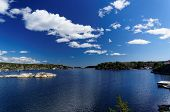 picture of fjord  - Spring Picturesque view at Norwegian fjord in southern Norway - JPG