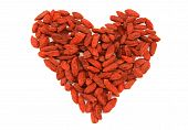 Red dried tibetan goji berries heart