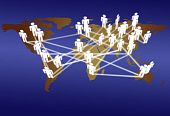 stock photo of eastern hemisphere  - Across the World business people connect in network media communication - JPG