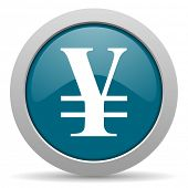 stock photo of yen  - yen blue glossy web icon