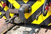 image of locomotive  - Close up of buffer of narrow gauge locomotive - JPG