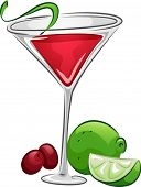 stock photo of cosmopolitan  - Illustration of a Cosmopolitan Drink with Lime and Cranberries - JPG