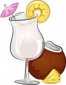 stock photo of pina-colada  - Illustration of a Pina Colada drink with Coconut and Pineapple - JPG