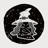 stock photo of witch  - Witch Hat Doodle - JPG