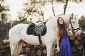 picture of horse girl  - Beautiful girl with horse and long hair - JPG