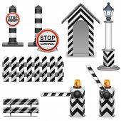 image of flashers  - Police barrier icons including post - JPG
