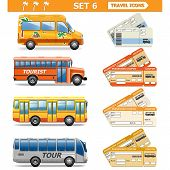 foto of wagon wheel  - Travel Icons Set 6 including different bus - JPG