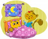 picture of puss  - Cute cat mother reading a bed - JPG