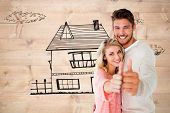 picture of stripping women window  - Attractive couple showing thumbs up to camera against bleached wooden planks background - JPG