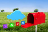 foto of postbox  - Red email postbox against green meadow - JPG