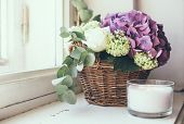 stock photo of hydrangea  - Big bouquet of fresh flowers - JPG