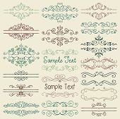 picture of scroll design  - Set of Hand Drawn Colorful Doodle Design Elements - JPG