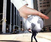foto of presenting  - Hand presenting against new york street - JPG
