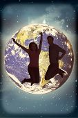pic of twinkle  - Cheerful young couple jumping against stars twinkling in night sky - JPG