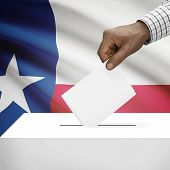 picture of texans  - Ballot box with US state flag on background  - JPG