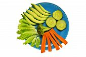 stock photo of vedic  - plate with vegetables on a white background - JPG