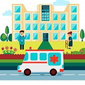 picture of ambulance  - Cartoon of a doctor with patient standing outside of a hospital and an ambulance on the road - JPG
