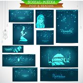 image of kareem  - Shiny social media ads header or banner set with various Islamic elements for holy month of Muslim community - JPG