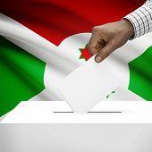 picture of burundi  - Ballot box with flag on background  - JPG