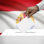 stock photo of french polynesia  - Ballot box with flag on background  - JPG