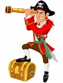 stock photo of buccaneer  - Illustration of cartoon pirate - JPG