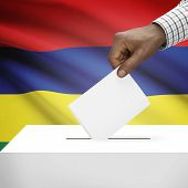 pic of mauritius  - Ballot box with flag on background  - JPG