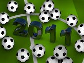 Many soccerballs with 2011 in center