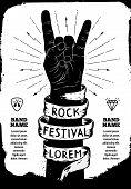 Постер, плакат: Rock Festival Poster Rock And Roll Hand Sign