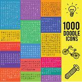 Постер, плакат: Set of 1000 doodle icon