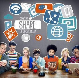 stock photo of social system  - Creative Share Social Media Social Network Internet Online Concept - JPG