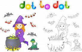 picture of cauldron  - Pretty friendly witch brews a potion - JPG