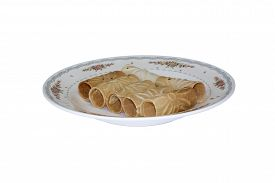 image of tong  - Tong Muan Rolled Wafer Thailand at the dish on white background - JPG