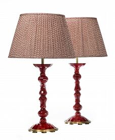 picture of lamp shade  - Pair of antique red table lamps made from glass with material shades isolated on white - JPG