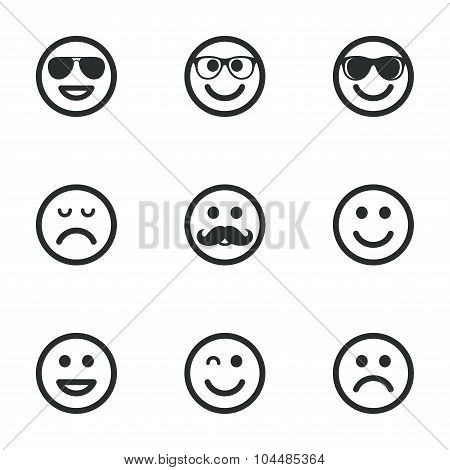 Smile icons Sunglasses mustache and