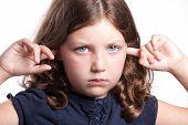 Sad Girl Covers Ears