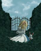 pic of alice wonderland  - Alice in a straight jacket outside in the garden - JPG