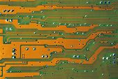 Circuit Board Macro Green And Gold
