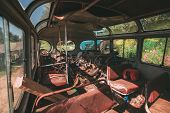 Постер, плакат: Interior of an old city transit bus