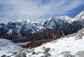 Panorama of Mountains in Manaslu Area