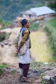 Peasant In National Clothes From The Gorkhas Village