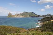 stock photo of fynbos  - A view of Hout Bay and Karbonkelberg from Chapman - JPG