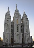 Salt Lake Temple East Side At Dusk