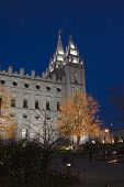 Salt Lake Temple East Spires And Christmas Lights