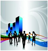 pic of person silhouette  - a group of business people with 3d graph - JPG