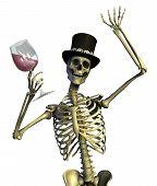 Fun Loving Party Skeleton - On White