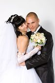 picture of wedding couple  - bride to the bridegroom on a white background - JPG