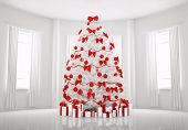 White Christmas Tree In The Room Interior 3D