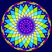 window with colorful glass mosaic