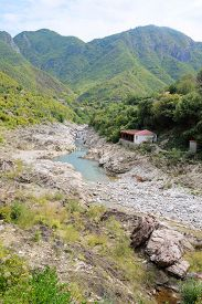 stock photo of albania  - Landscape with the image of mountains in Albania - JPG