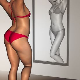 picture of skinny fat  - Concept or conceptual 3D woman - JPG